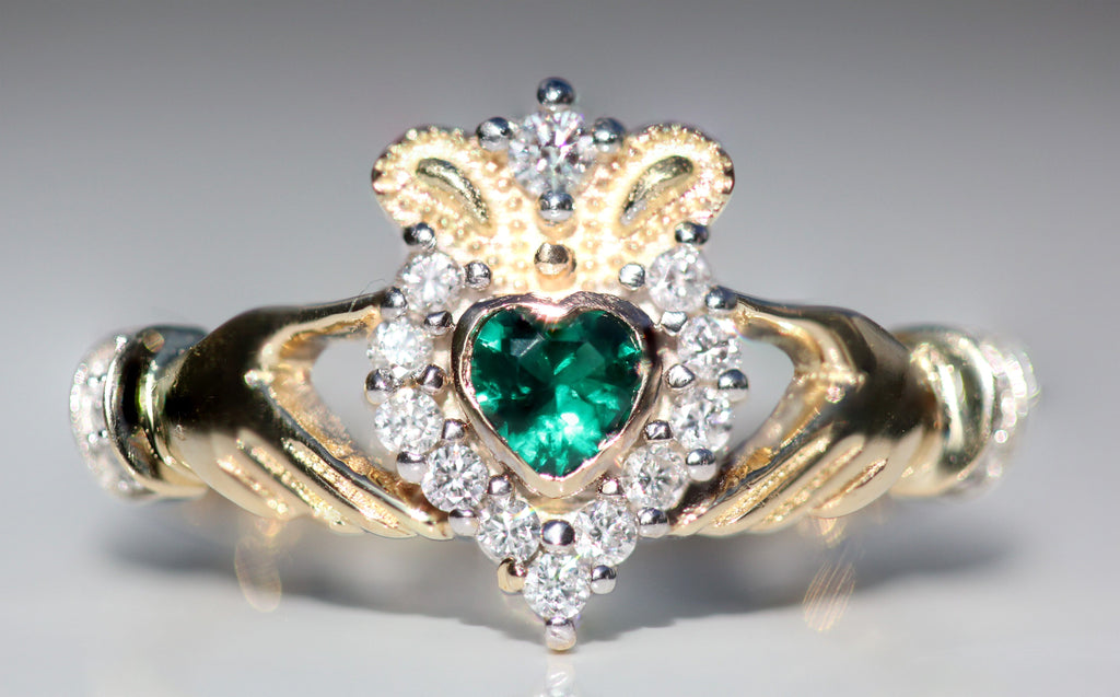 14ct Gold Druids Claddagh Ring with Diamonds & Emeralds