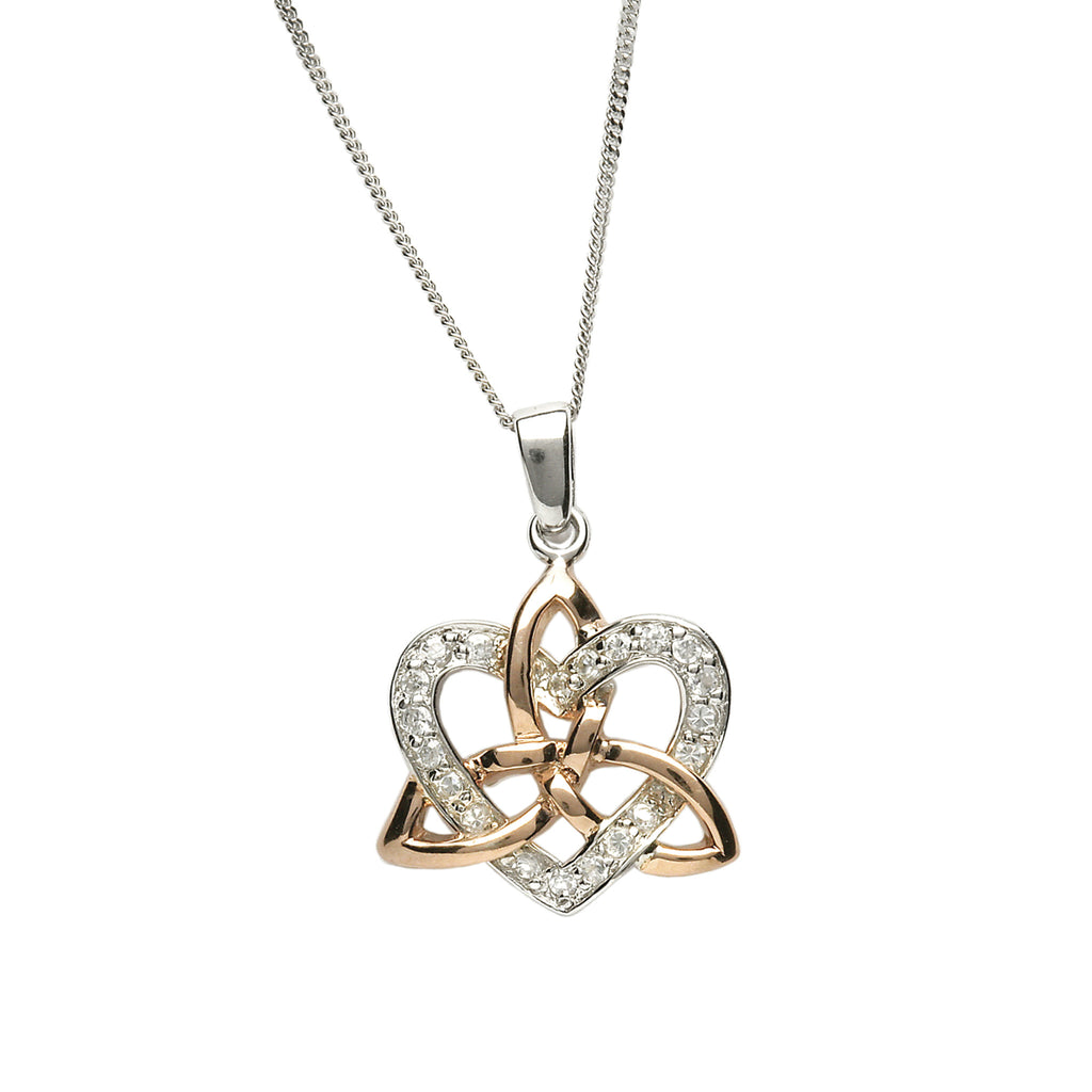 Silver Trinity Pendant with 20pc CZ Heart. - Hibernian Gifts