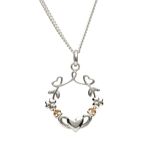 Silver Heart, Shamrock and Claddagh Pendant - Hibernian Gifts