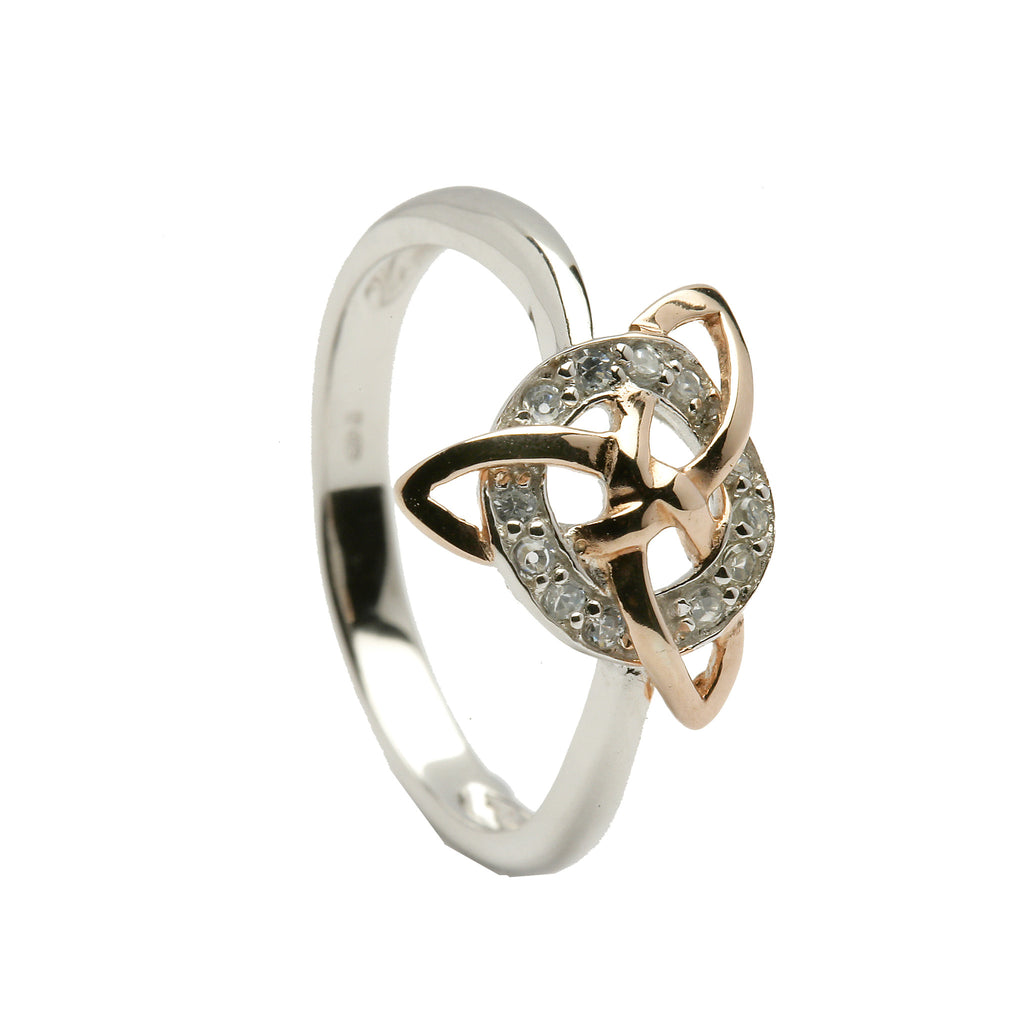 Silver Trinity Ring with 12pc CZ Circle - Hibernian Gifts