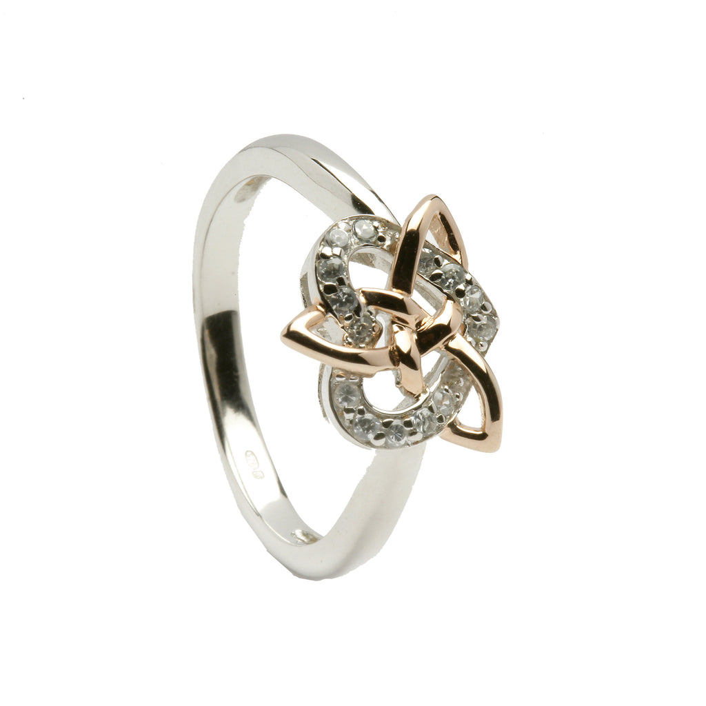 Silver Trinity Ring with 15pc CZ Heart - Hibernian Gifts