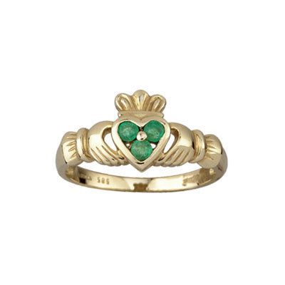 14k Gold Claddagh Ring with Real Emerald Setting - Hibernian Gifts