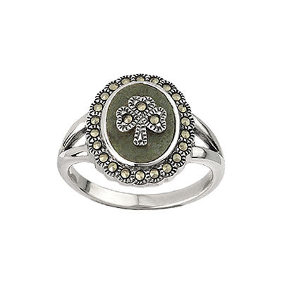 Solvar: Connemara Marble Ring with Marcasite - Hibernian Gifts