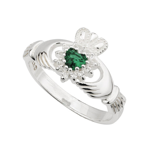 Solvar: Claddagh Ring with Syn Emerald and Cubic Zirconia - Hibernian Gifts