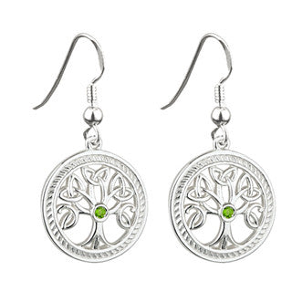 Solvar: Sterling Silver 'Tree of Life' Drop Earrings - Hibernian Gifts