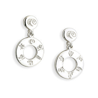 History of Ireland Sterling Silver Doughnut Drop Earrings - Hibernian Gifts
