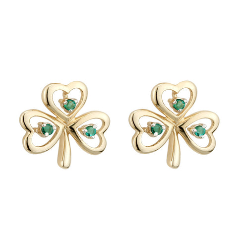 Solvar: 14k Emerald Shamrock Earrings - Hibernian Gifts