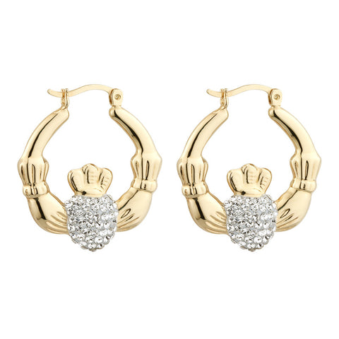 Silver Gold Plated Medium Crystal Claddagh Creole Earrings - Hibernian Gifts