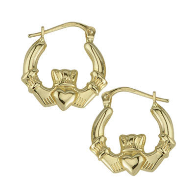 14k Gold Claddagh Earrings - Hibernian Gifts