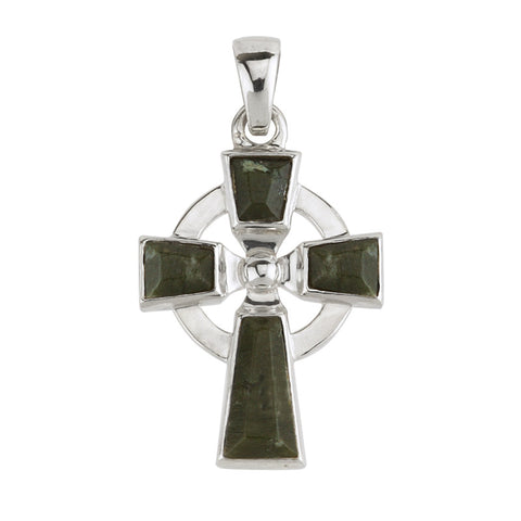 Solvar: Sterling Silver Celtic Cross with Connemara Marble - Hibernian Gifts