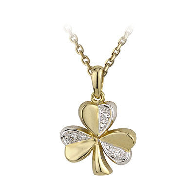Solvar: 14k Gold Shamrock with Diamond Necklace - Hibernian Gifts