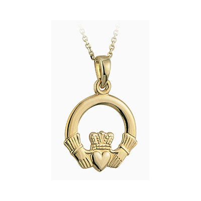 14k Gold Claddagh Necklace - Hibernian Gifts
