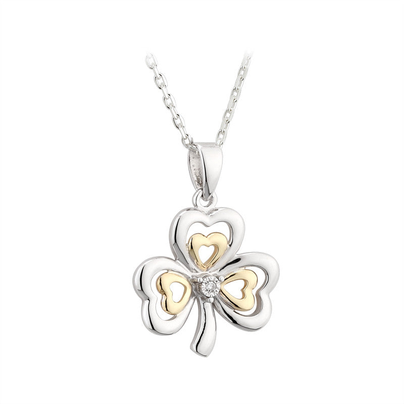Solvar: Silver and 10k Gold and Diamond Shamrock Pendant - Hibernian Gifts