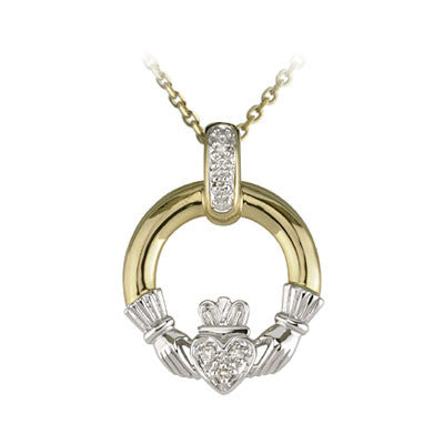 14k Gold Claddagh with Diamond Necklace. - Hibernian Gifts