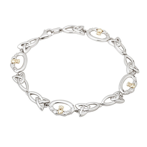 Silver and 10k Gold Claddagh Bracelet - Hibernian Gifts