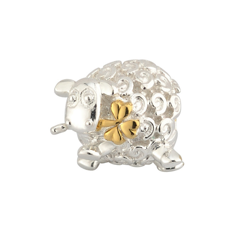 Solvar: Sterling Silver & Gold Plated Sheep Bead. - Hibernian Gifts