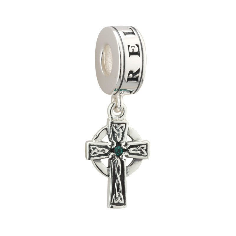 Solvar: Sterling Silver & Crystal Cross Dangle Bead - Hibernian Gifts