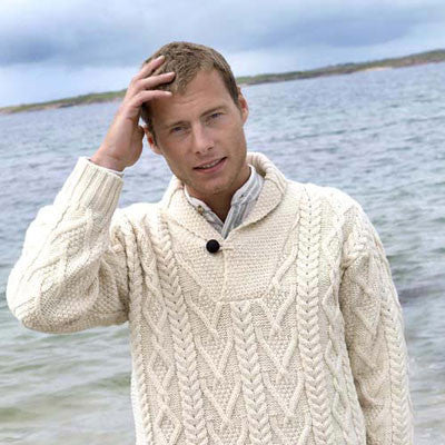 Westend Knitwear: Shawl Collar Mans Sweater - Hibernian Gifts - 1
