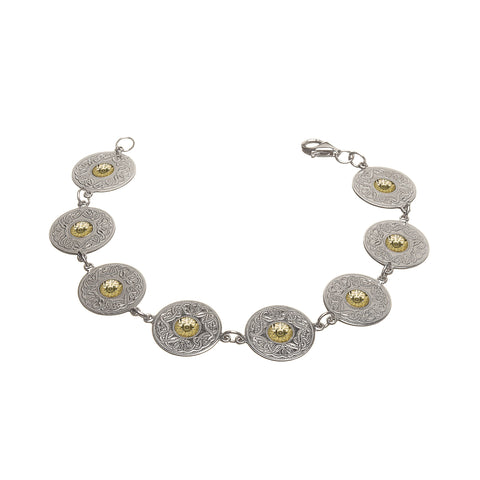 Celtic Warrior Silver Small Disc Bracelet with 18k Gold Bead - Hibernian Gifts