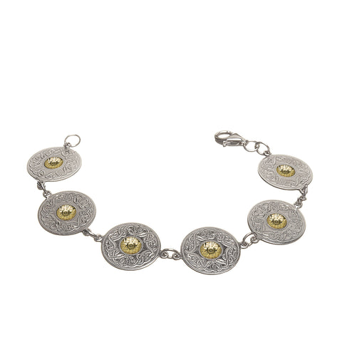 Celtic Warrior Silver Large Disc Bracelet with 18k Gold Bead - Hibernian Gifts