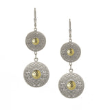 Celtic Warrior Sliver Double Drop Earrings with 18k Gold Bead - Hibernian Gifts