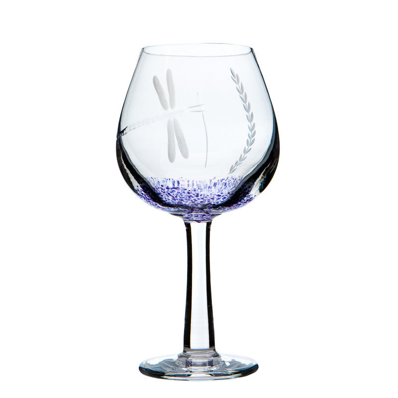 The Irish Handmade Glass Company: Wild Heather Pair of Wine Glasses - Hibernian Gifts