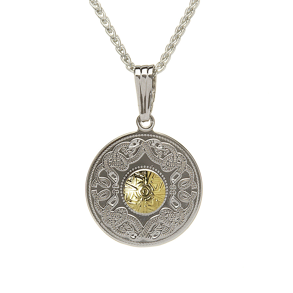 Celtic Warrior Silver Large Pendant with 18k Gold Bead - Hibernian Gifts