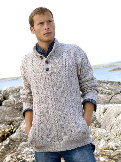 Westend Knitwear: Irish Traditional Pattern Button Jumper - Hibernian Gifts - 1