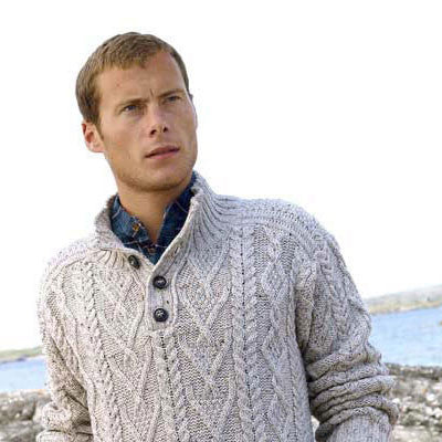 Westend Knitwear: Irish Traditional Pattern Button Jumper - Hibernian Gifts - 2