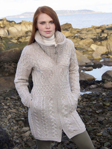 Westend Knitwear: Irish Traditional Long Zip Cardigan - Hibernian Gifts
