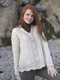 Westend Knitwear:Button Cardigan Scalloped End - Hibernian Gifts - 1