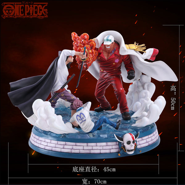 One Piece Kakitoy Marineford Akainu Sakazuki vs Shanks Resin Statue