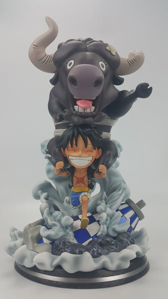 [Back Order] One Piece Marz Studios SD Monkey D. Luffy with Brutal Bull Resin Statue