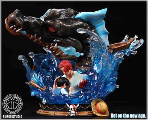 "[PO] One Piece Surge Studio ""Bet On The New Age"" Shanks and Childhood Monkey D. Luffy with Sea King Resin Statue"