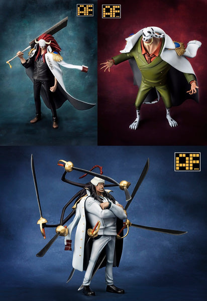 One Piece AForce E005 Marine Vice Admirals Bastille & Dalmatian & Onigumo Resin Statue (Set of 3)