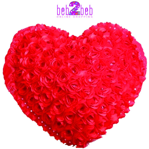 Floral Red Heart Cushion