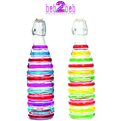 Glass Water Bottle with Rings