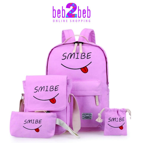 Lovely Smile Face  Back Bags Set