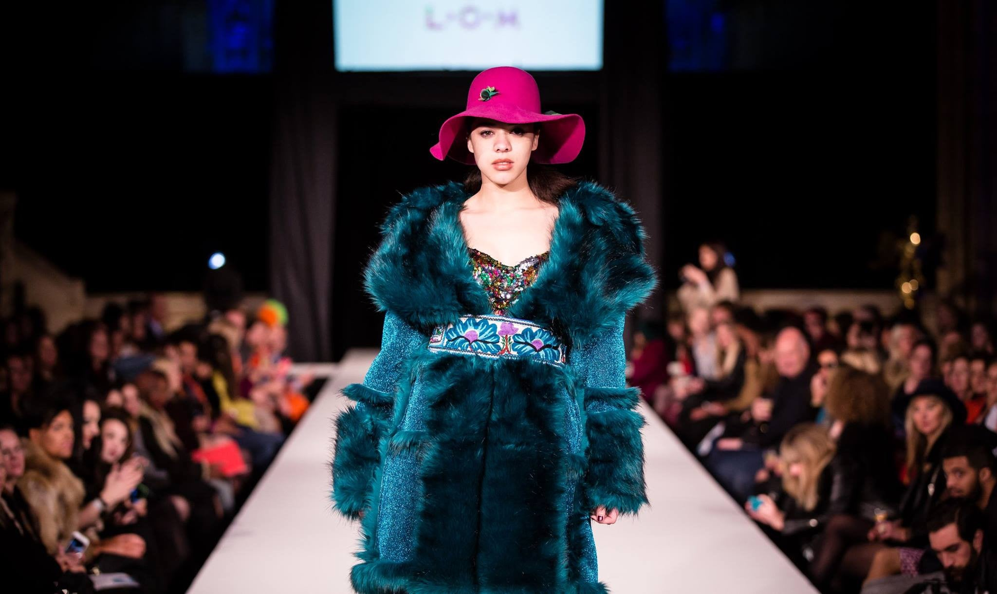 Teal Faux Fur And Glitter Mongolian Style Coat