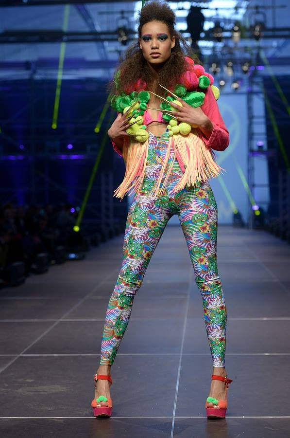 Neon Pom Pom and Fringed Jacket