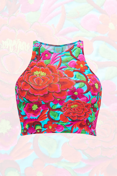 Folklorico Sleeveless Crop Top