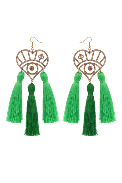 Green Triple Tassel Logo Earrings