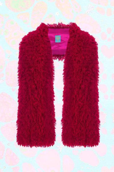 Körpermitose Red and Pink Faux Mongolian Wool Scarf