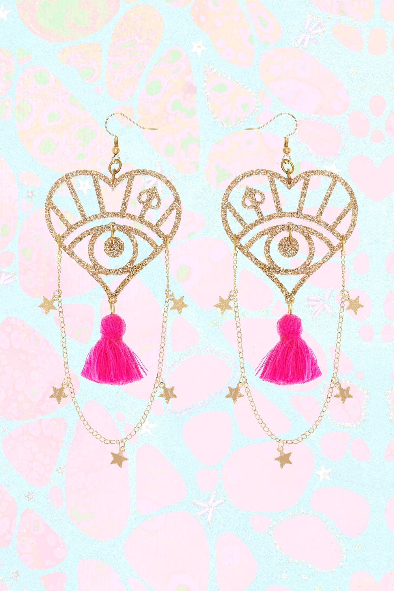 Star Chain Earrings with Pink Tassel