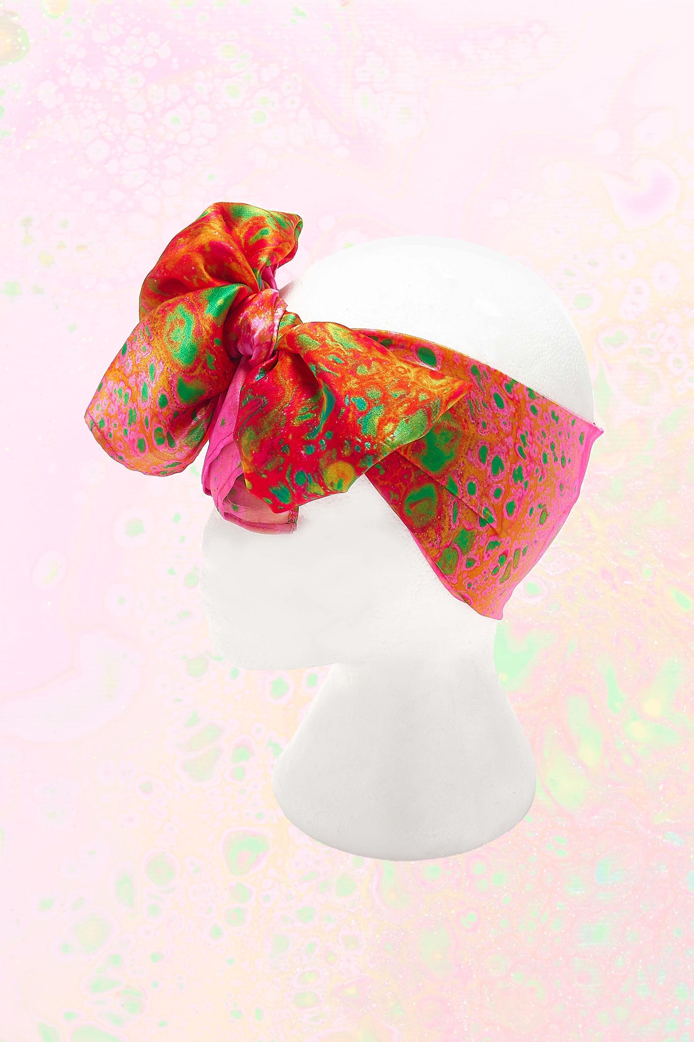 Körpermitose Small Pink and Orange Printed Headscarf