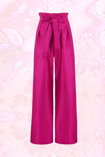 Körpermitose Pink Wide Leg Paperbag Trousers