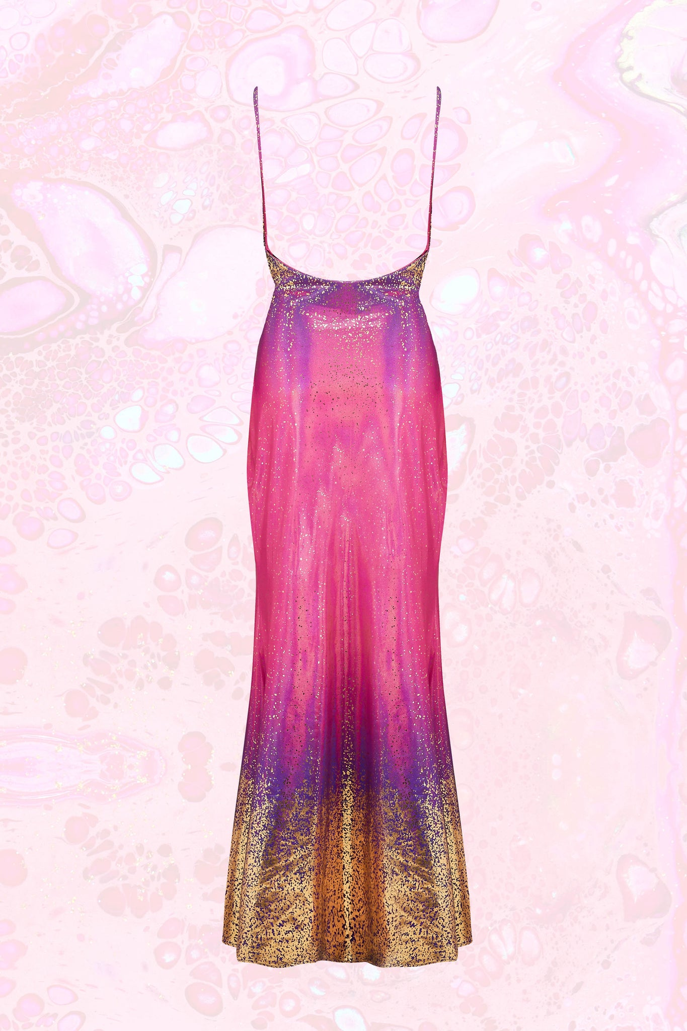 Körpermitose Pink, Purple and Gold Iridescent Fishtail Dress