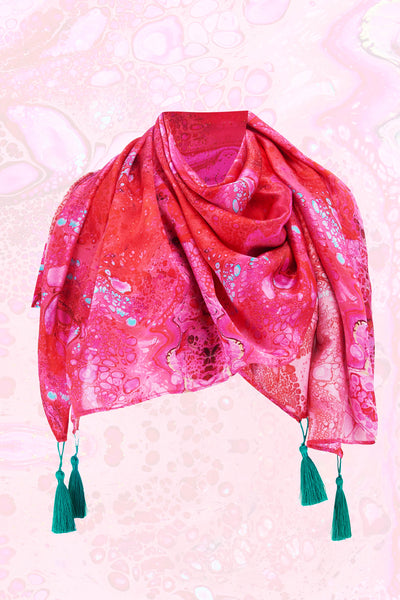 Körpermitose Large Silk Pink and Red Printed Scarf