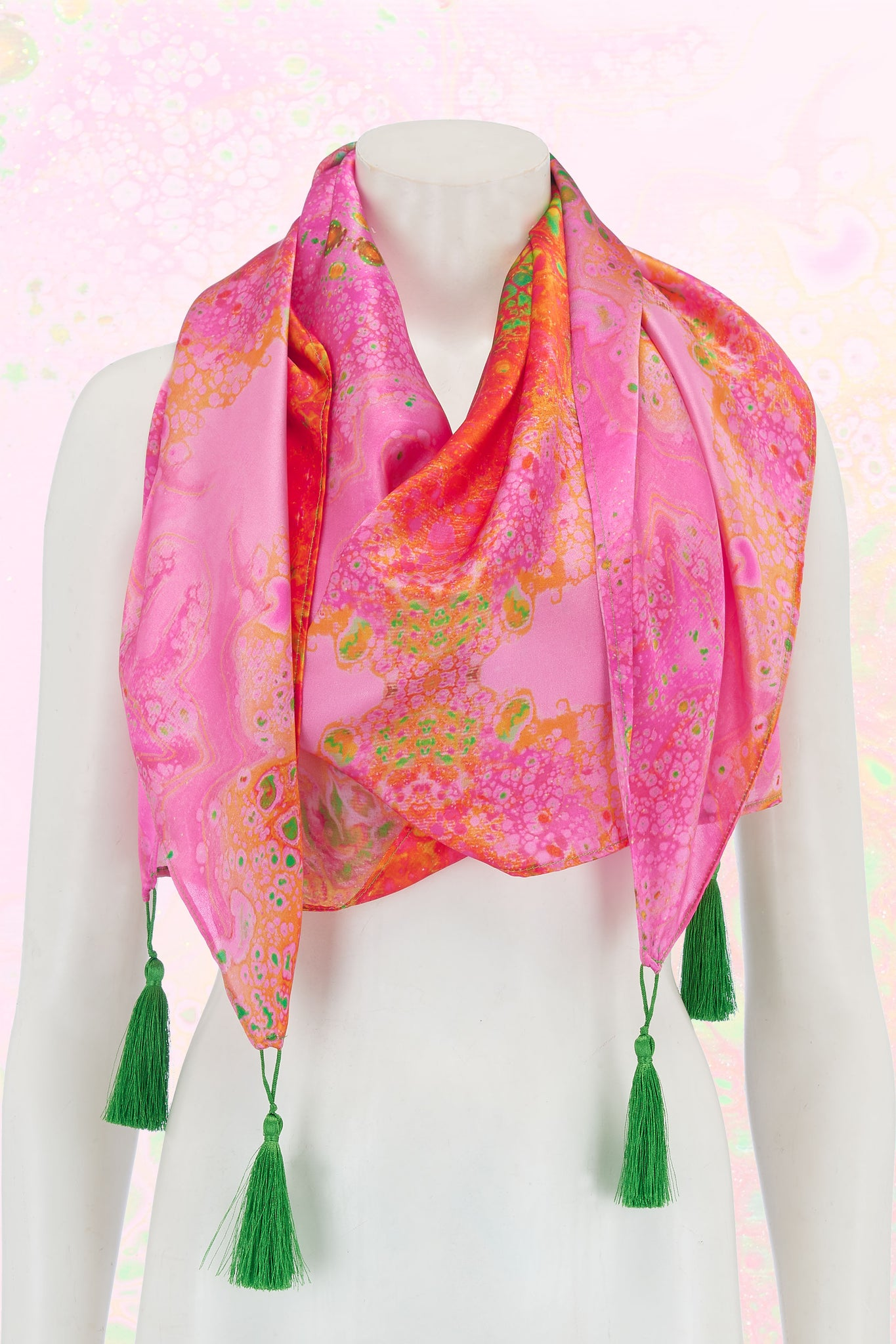 Körpermitose Large Silk Pink and Orange Printed Scarf