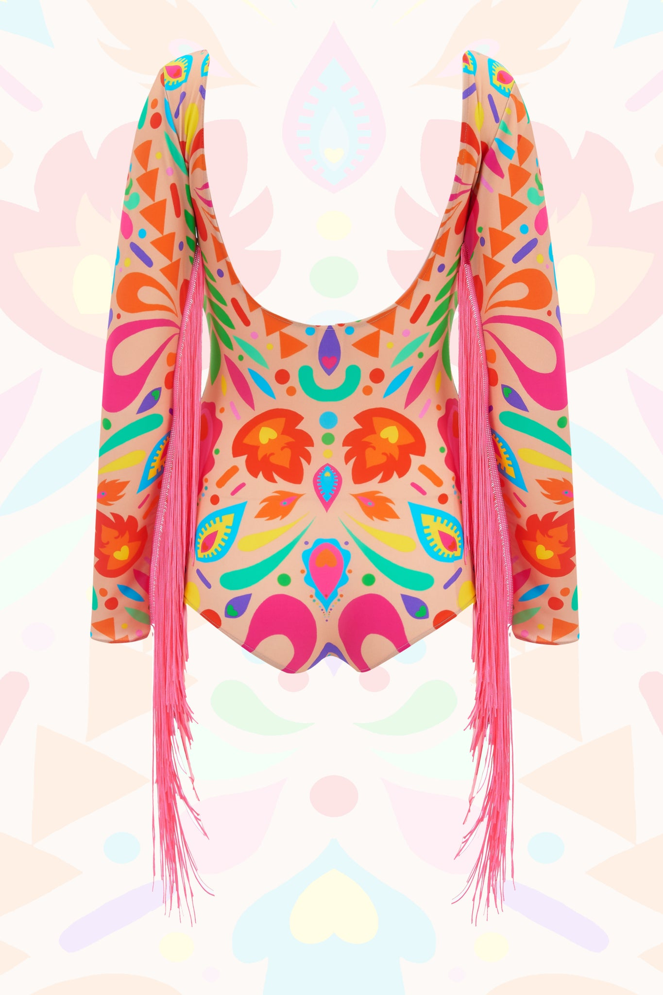 Rainbow Beige Festival Fringed Playsuit